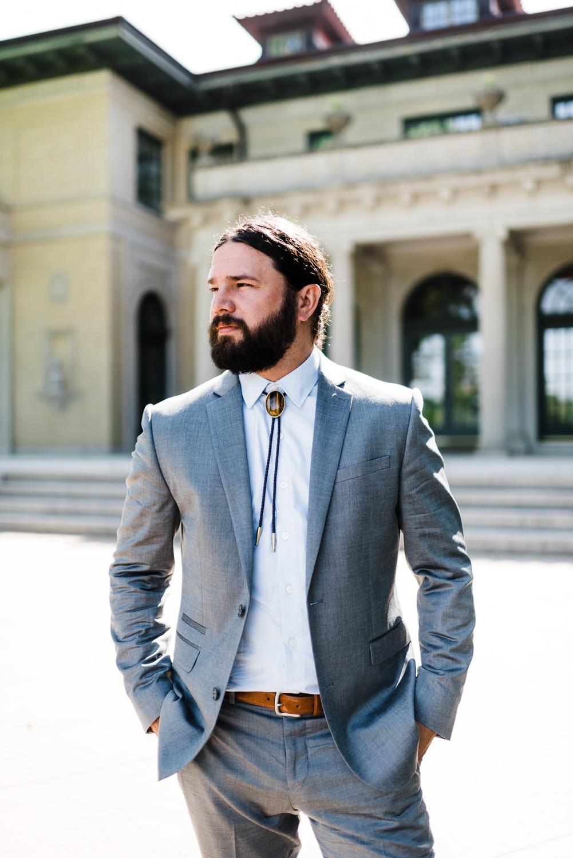 oklahoma wedding photographer - groom - bolo tie - stylish